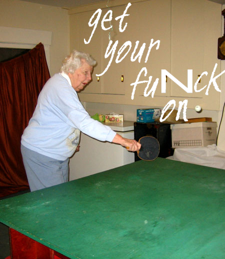 old lady playing ping pong